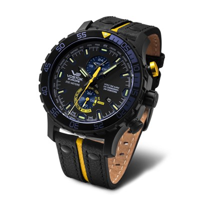 Vostok Europe Gent's Expedition Everest Underground PVD Chronograph Alarm Watch with Interchangeable Straps, Dry Box