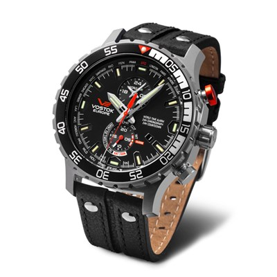 Vostok Europe Gent's Expedition Everest Underground Matte Stainless Steel Chronograph Alarm Watch with Interchangeable Straps, Dry Box