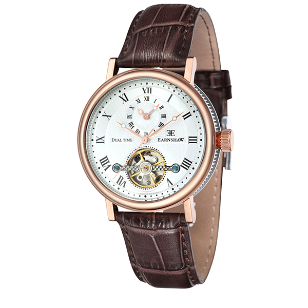 Thomas Earnshaw Gent's Beaufort Open Heart Automatic Watch with Genuine Leather Strap Brown
