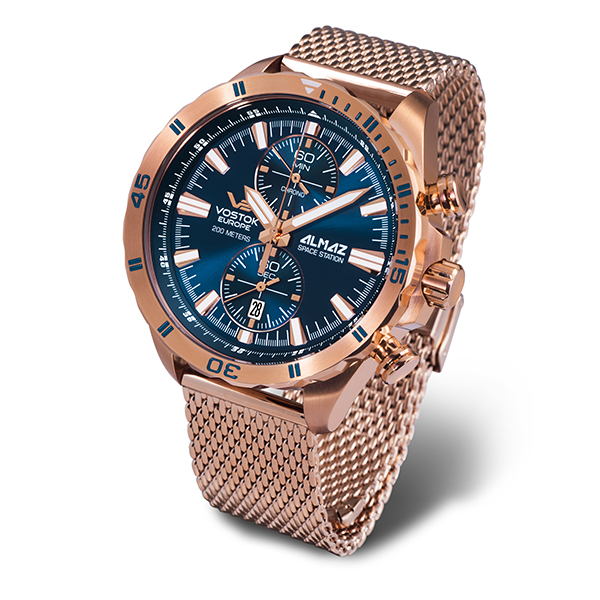 Vostok Europe Gent's Chronograph Almaz with PVD Case and Milanese Bracelet Strap Rose Gold