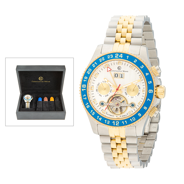 Constantin Weisz Gent's Automatic Open Heart Watch with Interchangeable Strap & Luxury Box Silver
