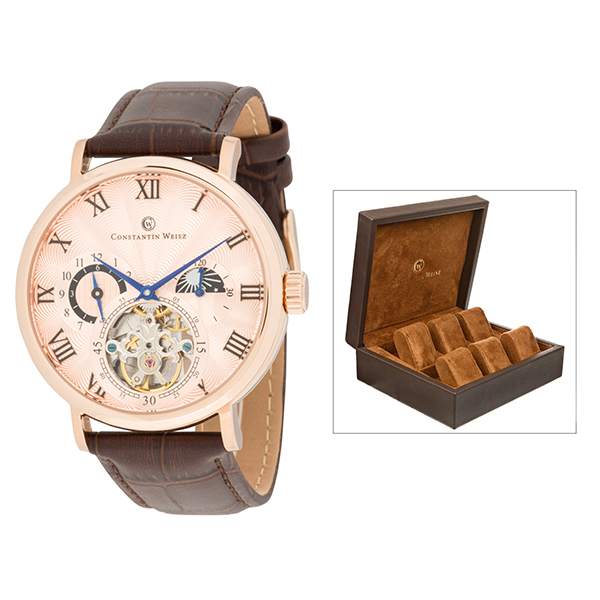 Constantin Weisz Gent's Automatic Day & Night Indicator Watch with Genuine Leather Strap & 6 Slot Collector's Box Rose Gold