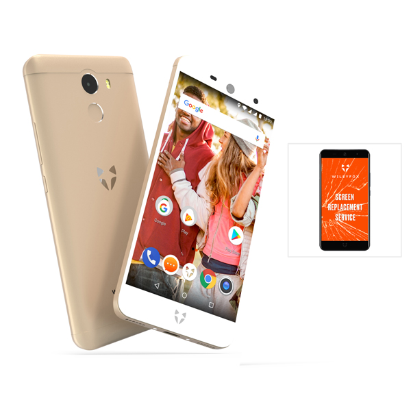 Wileyfox Swift 2 - Android 8.1 Smartphone, 5inch HD, 2GB RAM, 16GB Storage, 4G, Fingerprint PLUS One Year One Use Screen Replacement Guarantee Gold