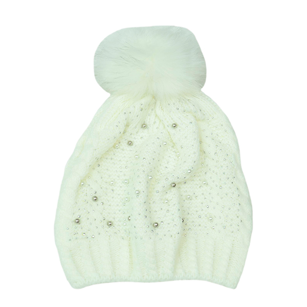 Embellished Pom Pom Hat Winter White
