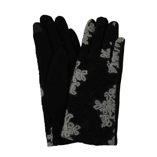 Floral Embroidered Gloves Grey