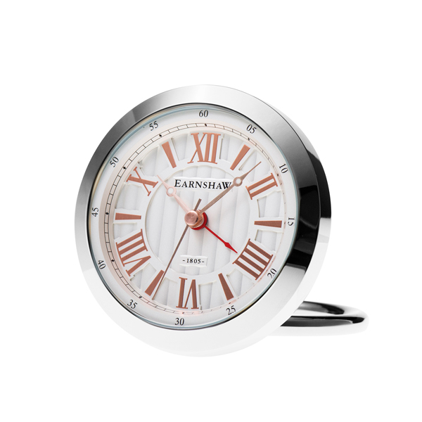 Thomas Earnshaw Table Clock Silver/Rose Gold