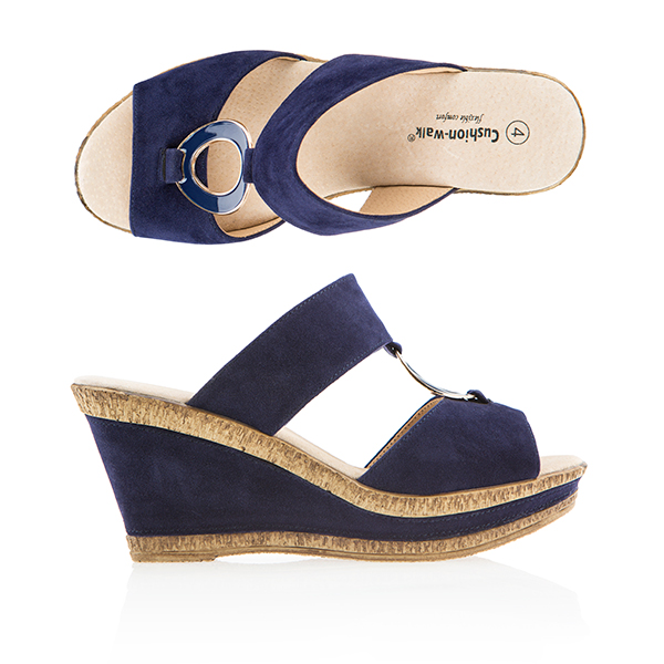 Cushion Walk Comfort Wedge Circle Mule French Navy