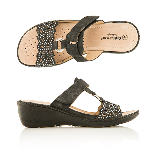 Cushion Walk Comfort One Touch Diamante Mule Sandal Black
