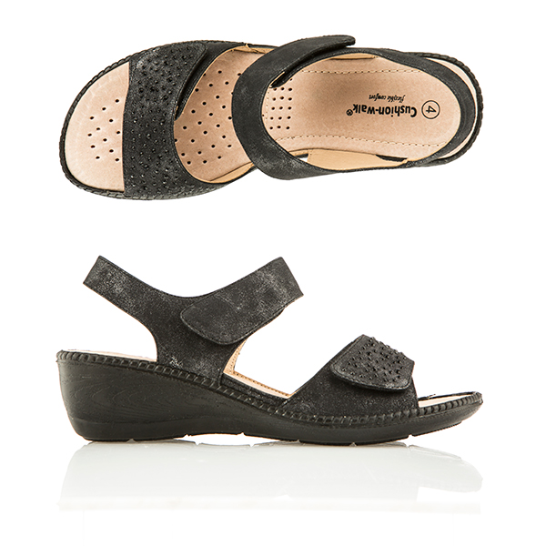 Cushion Walk Comfort One Touch Diamante Sandal Black