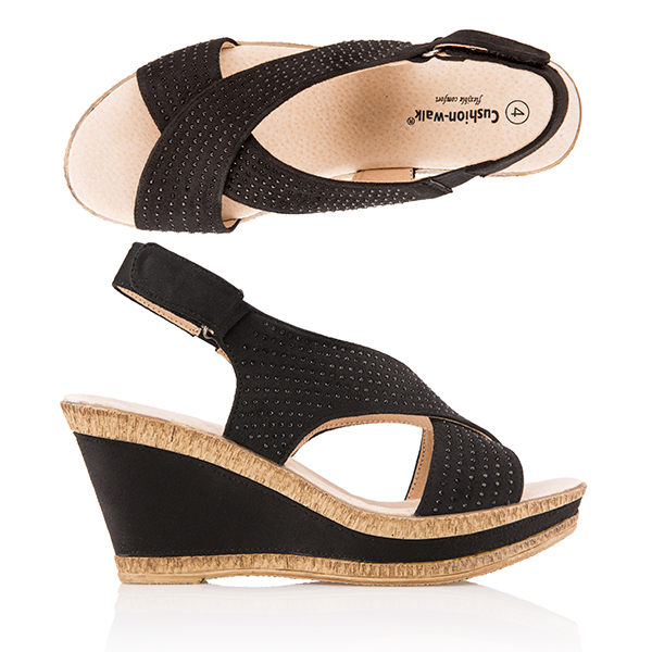 Cushion Walk Comfort Sling Back Diamante Wedge Sandal Black