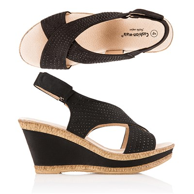 Cushion Walk Comfort Sling Back Diamante Wedge Sandal