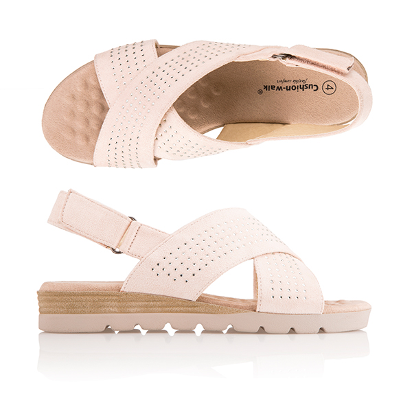 Cushion Walk Comfort Sling Back Diamante Slider Sandal Blush