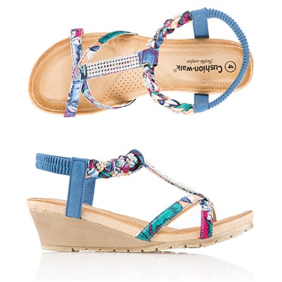 Cushion Walk Comfort Satin Print and Diamante Sandal