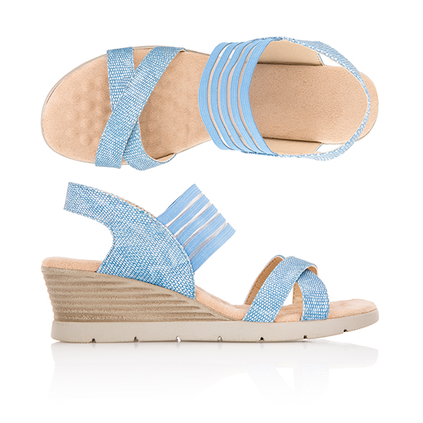 Cushion Walk Comfort Skin Wedge Sandal Denim