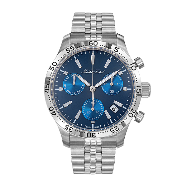 Mathey-Tissot Gent's Limited Edition Type 22 Chronograph with Stainless Steel Bracelet Blue