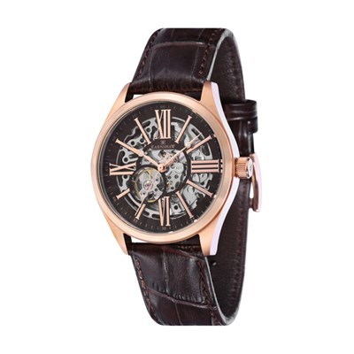 Thomas Earnshaw Gent's Westminster Skeleton Automatic Watch with Genuine Leather Strap
