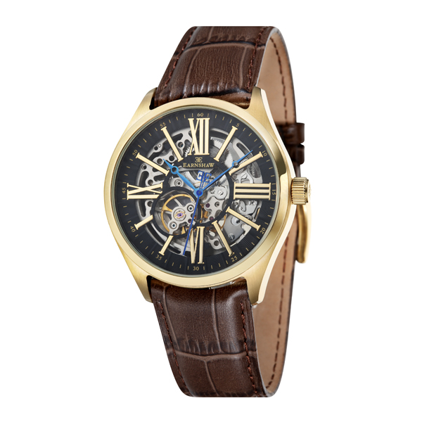 Thomas Earnshaw Gent's Armagh Automatic Skeleton Watch with Genuine Leather Strap Brown/Gold