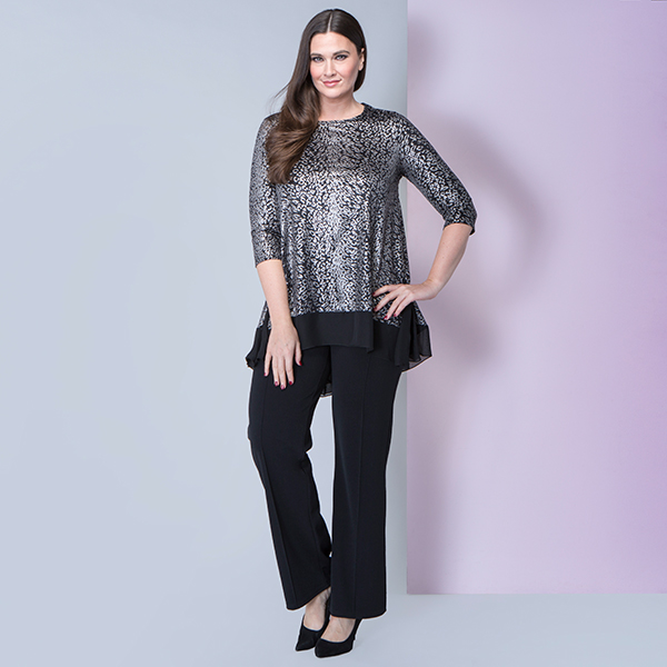 Nicole 3/4 Sleeve Sequin Animal Godet Top Black/Silver