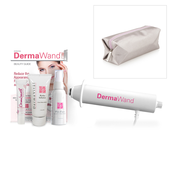 DermaWand Skin Care System with DermaSmooth 15ml and Derma Vital Pre-Face Treatment 59ml, Hydra Infusion 50ml and Travel Case No Colour