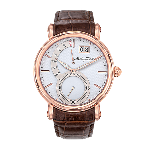 Mathey-Tissot Gent's Retrograde  Rose Gold PVD Plated Watch with Genuine Leather Strap White