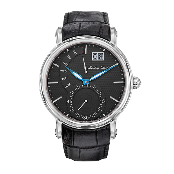 Mathey-Tissot Gent's Retrograde Stainless Steel Watch Genuine Leather Strap and Polishing Cloth Black