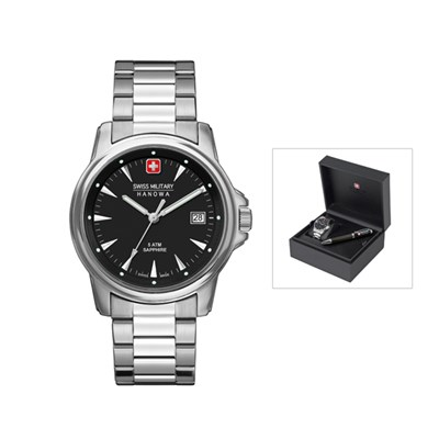 Swiss Military by Hanowa Gent's Recruit Prime Watch with Stainless Steel Bracelet and Pen