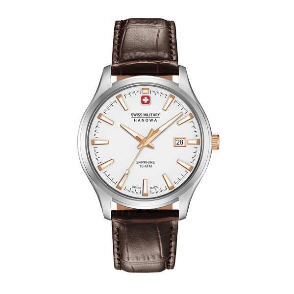 Swiss Military by Hanowa Gent's Major Watch with Genuine Leather Strap White