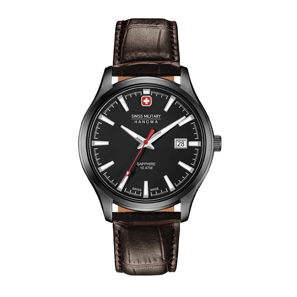Swiss Military by Hanowa Gent's IP Plated Major Watch with Genuine Leather Strap Black