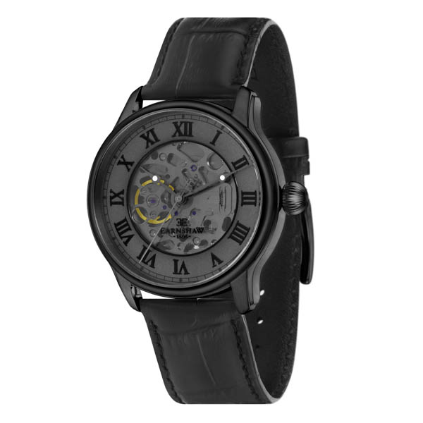 Thomas Earnshaw Gent's Longitude Automatic with Genuine Leather Strap Black