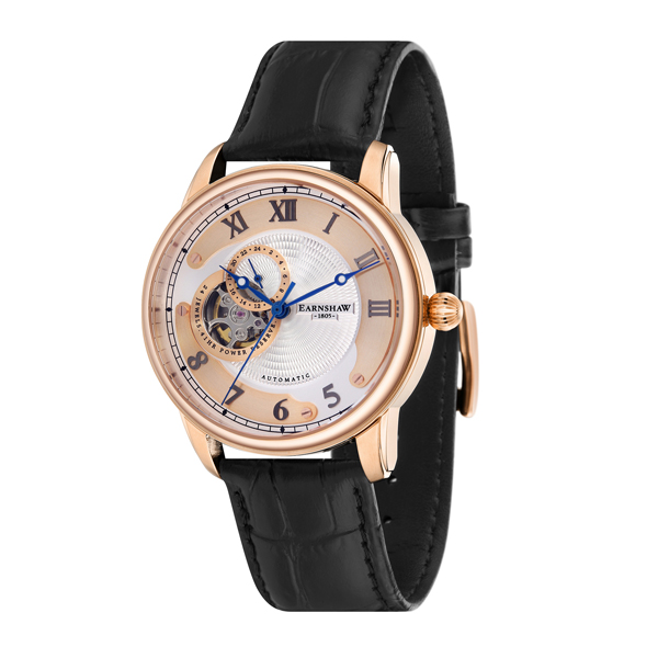 Thomas Earnshaw Gents Longtitude Automatic Open Heart with Genuine Leather Strap Black