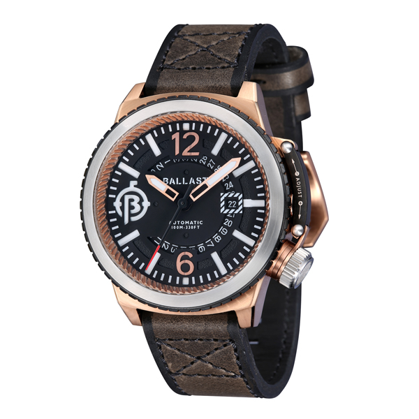 Ballast Gent's Trafalgar Automatic IP Plating Watch with Genuine Leather Strap Dark Brown
