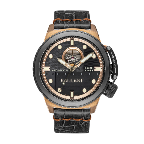 Ballast Gent's Trafalgar Ltd Edt Swiss Automatic Bronze Case with Open Heart and Genuine Leather Strap Black