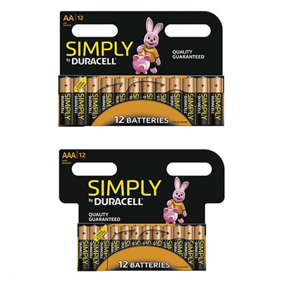 Duracell Simply 24pack - 12 AA, 12AAA