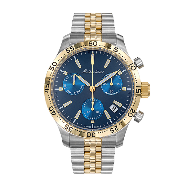 Mathey-Tissot Gent's Limited Edition Type 22 Chronograph Watch with Two Tone Stainless Steel Bracelet Blue