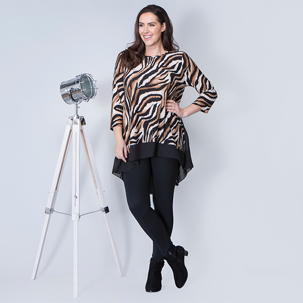 Nicole 3/4 Sleeve Abstract Animal Print Tunic with Chiffon Trim Brown