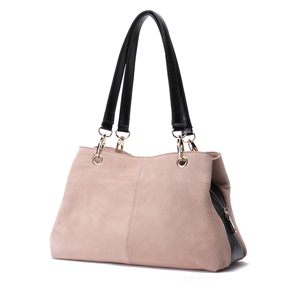 Woodland Leather Suede Hobo Bag Stone