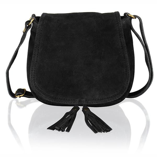 Woodland Leather Suede Saddle Bag Black
