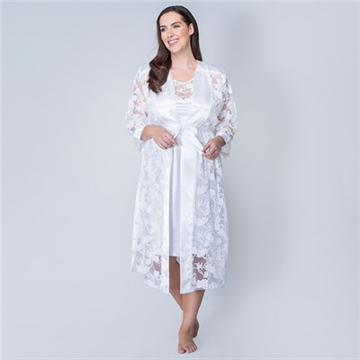 Nouvelle Satin Night Dress with Matching Night Gown