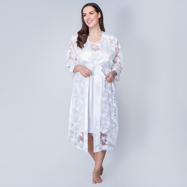Nouvelle Satin Night Dress with Matching Night Gown Ivory