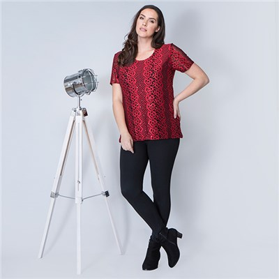 Nouvelle Lace Jacquard Sequin Short Sleeve Tunic
