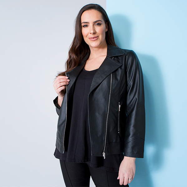 Stolen Heart Faux Leather Zip Through Jacket Black
