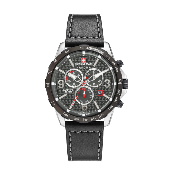 Swiss Military by Hanowa Gent's Ace Chronograph Watch with Genuine Leather Strap Black