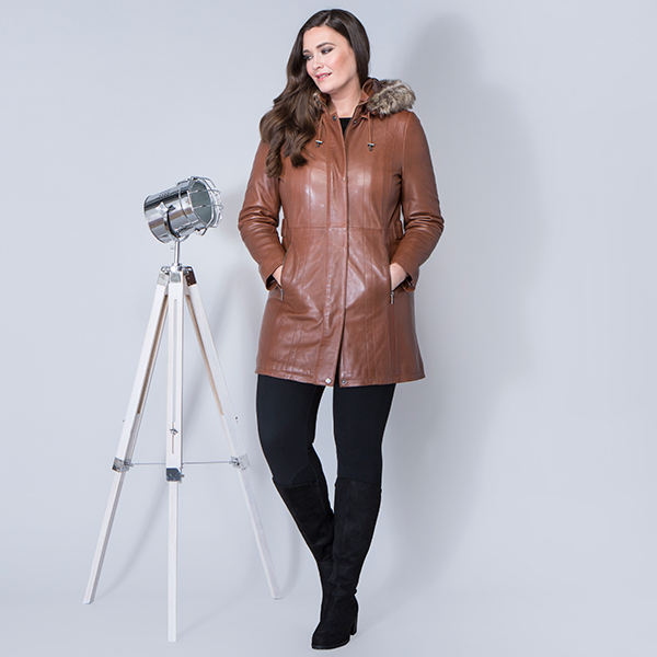 Lakeland Leather Rydal Hooded Leather Coat Dark Tan