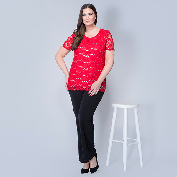 Nouvelle Short Sleeve Sequin Lace Top Red