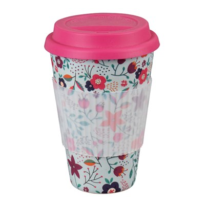 Cambridge Poppy Flowers 16oz Bamboo Sippy Mug
