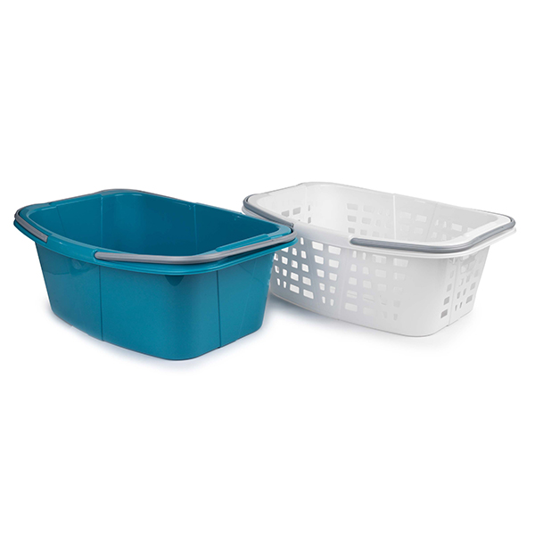Beldray Plastic Laundry Baskets With Handles (2 Pack) No Colour