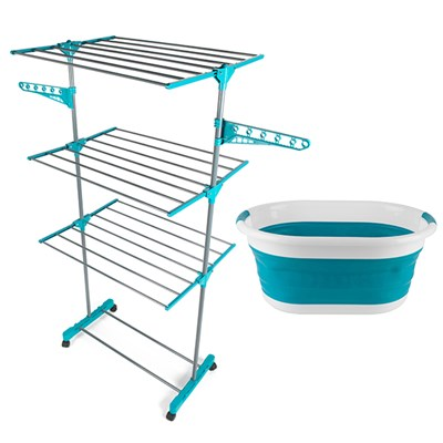 Beldray 3 Tier Super Deluxe Airer Turquiose and Beldray Oval Collapsible Laundry Basket