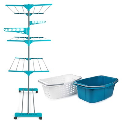 Beldray 3 Tier Deluxe Clothes Airer and Laundry Basket Set