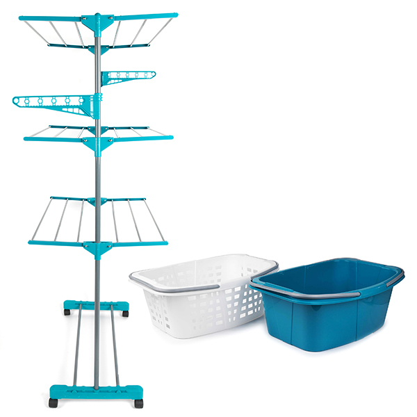 Beldray 3 Tier Deluxe Clothes Airer and Laundry Basket Set No Colour