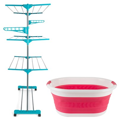 Beldray 3 Tier Super Deluxe Turquiose Airer and Beldray Oval Red Collapsible Laundry Basket
